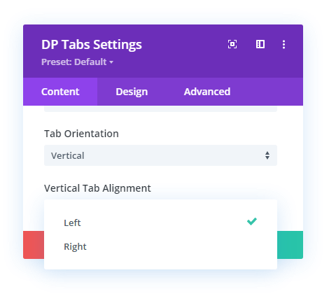 Vertical tab alignment options