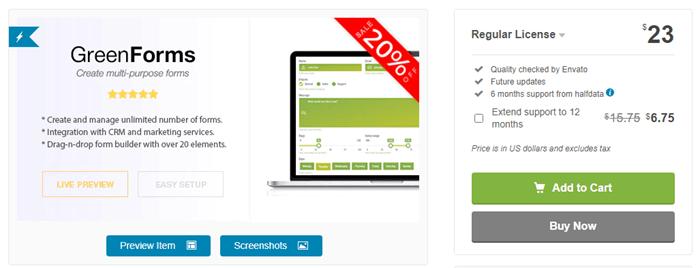 WordPress form builders - Green Forms