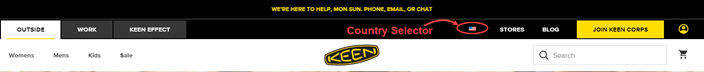 Country selector in the header