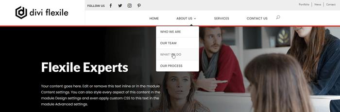 Navigation links on a header of website