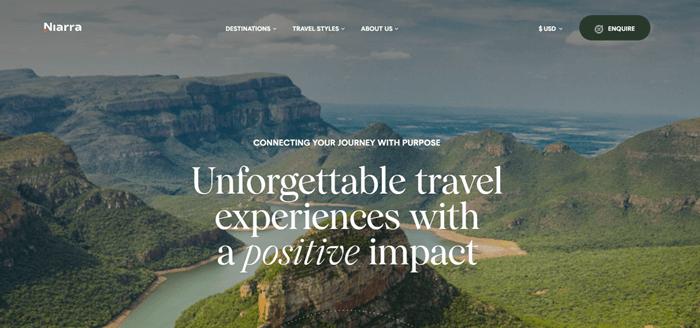 Niarra travel's transparent header example