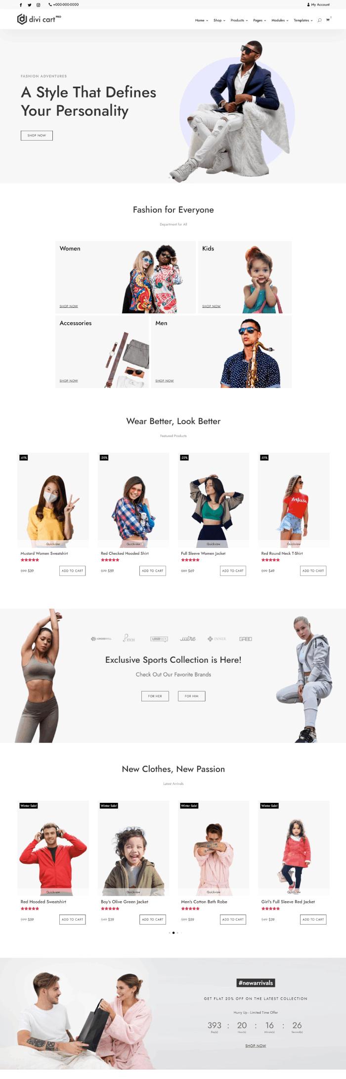Divi Cart Pro Classic fashion homepage