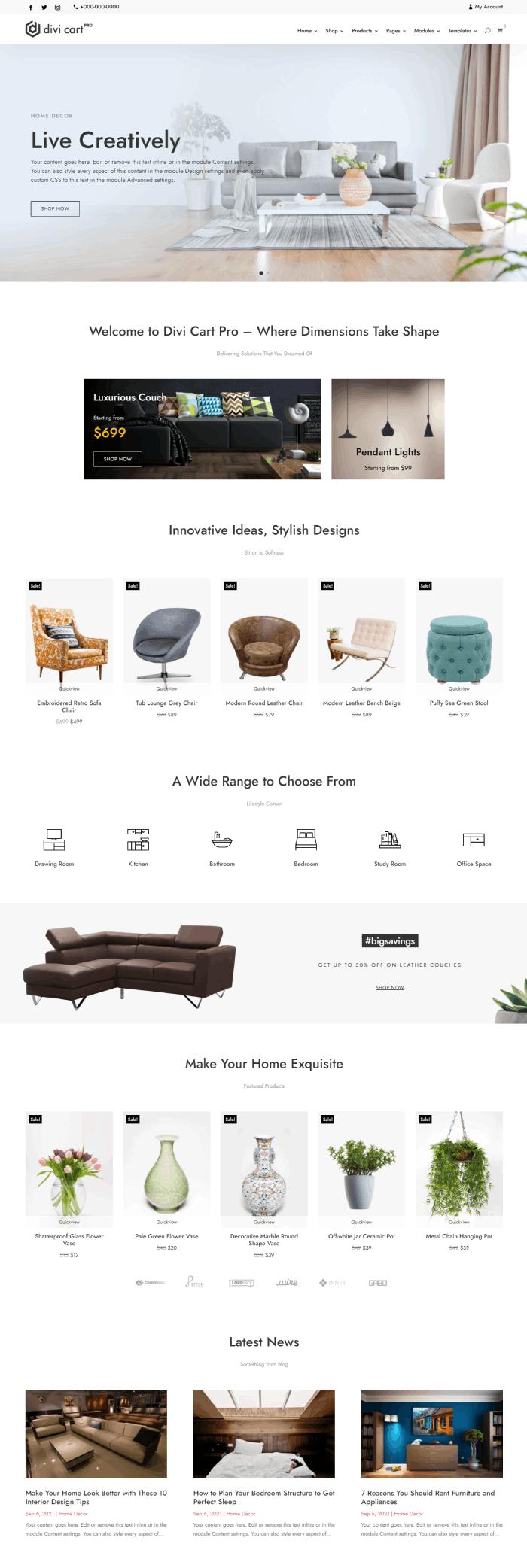 Divi Cart Pro Decor homepage