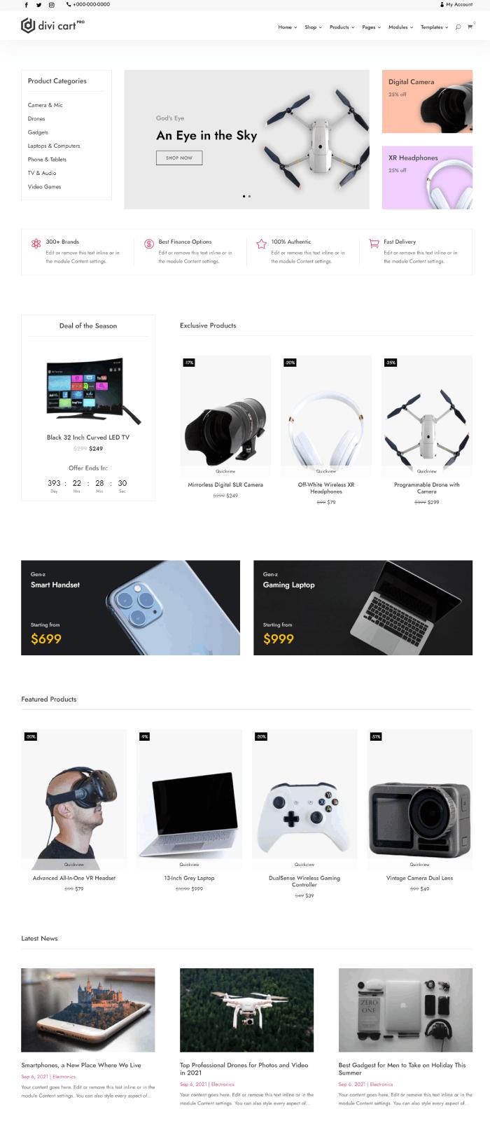 Divi Cart Pro Electronics homepage