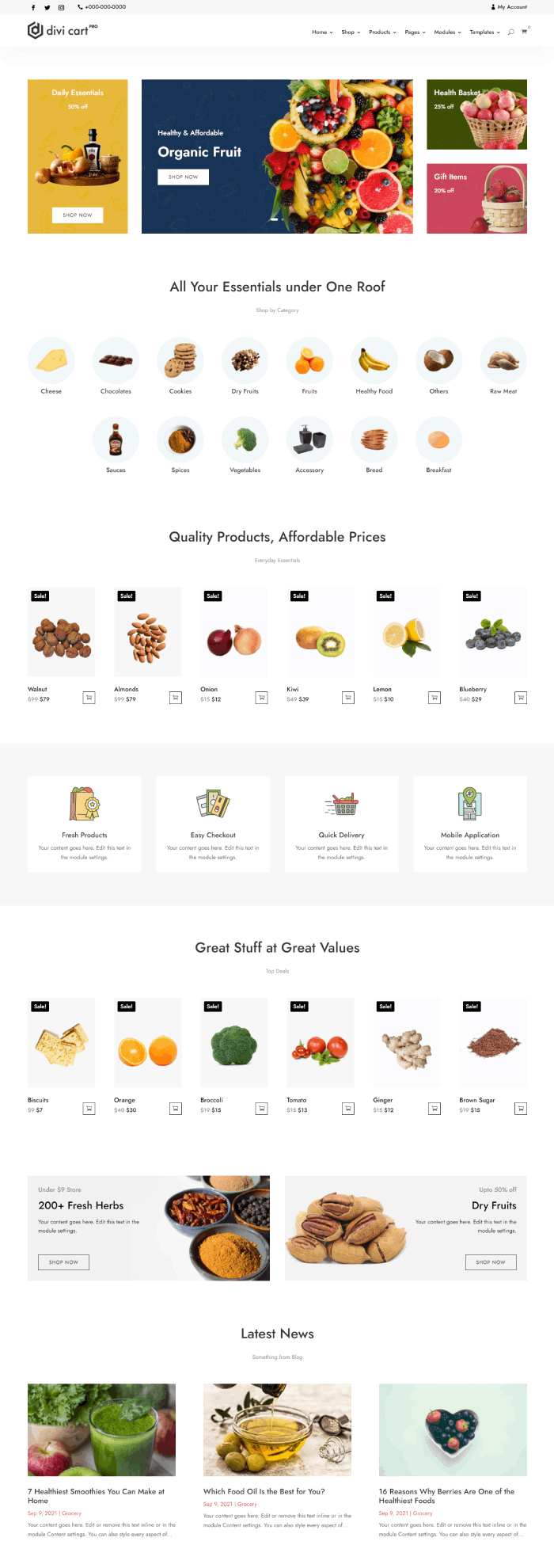 Divi Cart Pro Grocery homepage