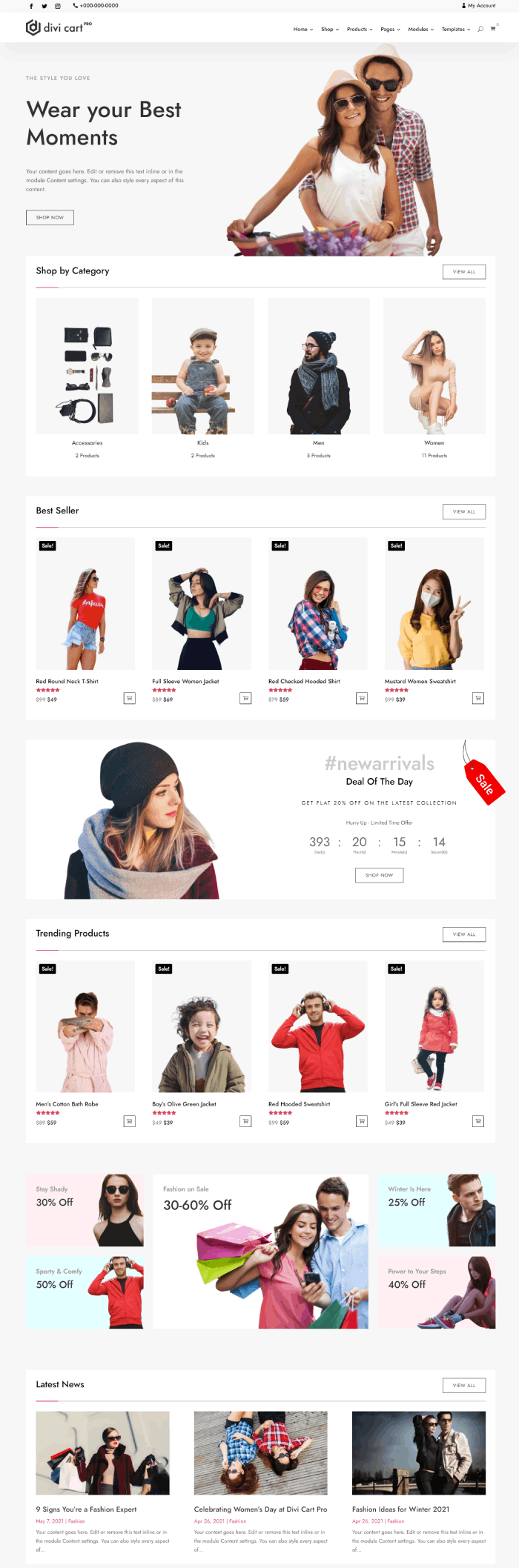 Divi Cart Pro modern fashion homepage