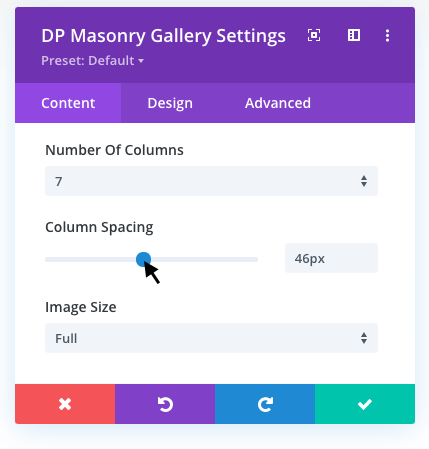 Adding column spacing in the masonry gallery