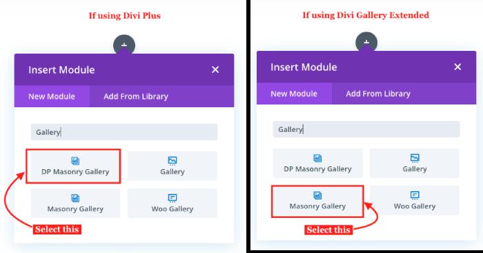 Divi masonry gallery modules