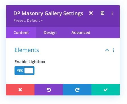 Lightbox in the masonry gallery module