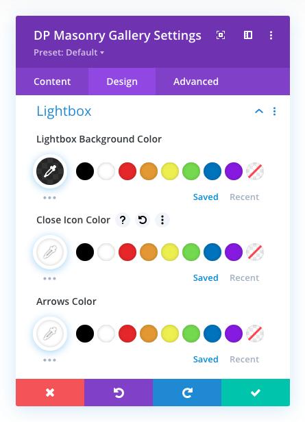 Masonry gallery lightbox options
