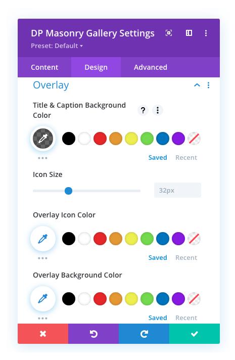 Masonry gallery overlay options