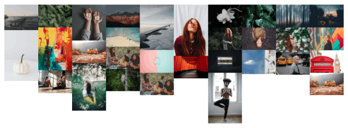 Divi Masonry gallery with column spacing to 0px with 10 columns