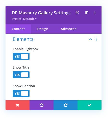 Divi Plus Masonry Gallery Settings