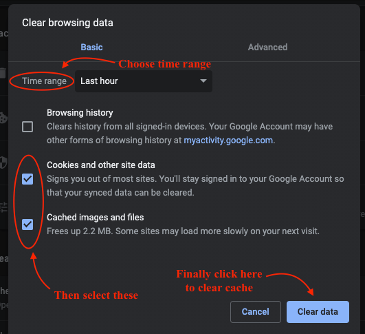 Cleared Google Chrome's Cache