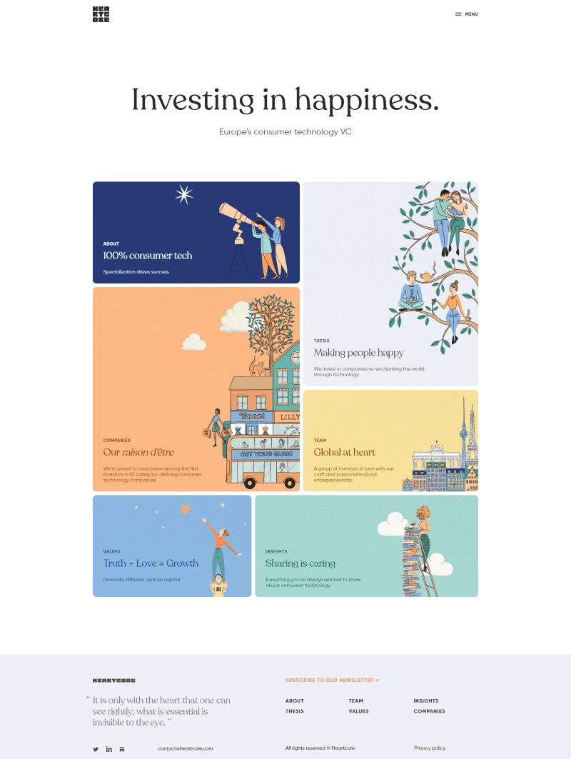 Heartcore minimalistic web design trend