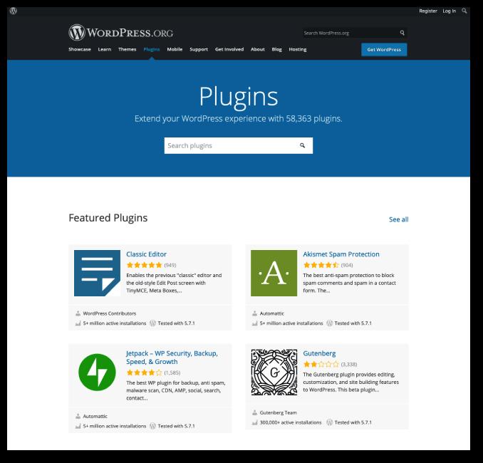 WordPress depository for plugins