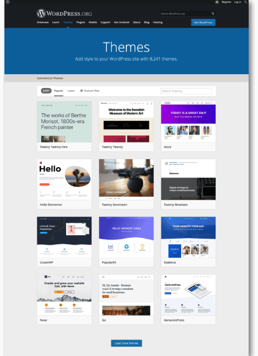 WordPress depository for themes