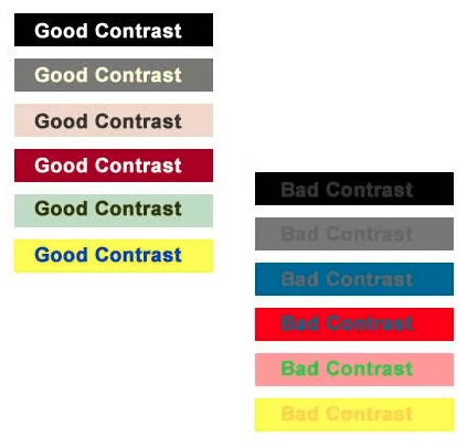 Bad and Good Font Contrast