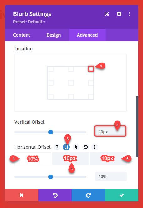 Close icon position values for offset