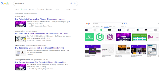 Divi Extended in Google videos and images search results