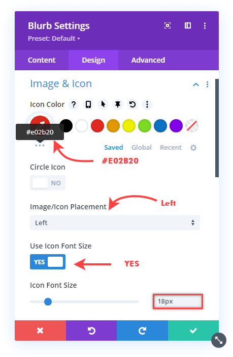 Email menu item's image and icon customizations