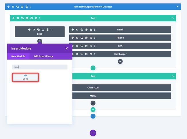 Insert code module for JavaScript
