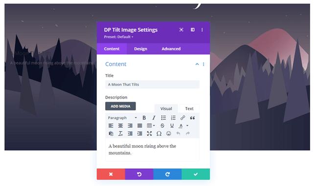 Title and description option for the tilt image