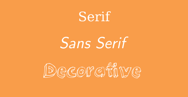 Typeface kinds