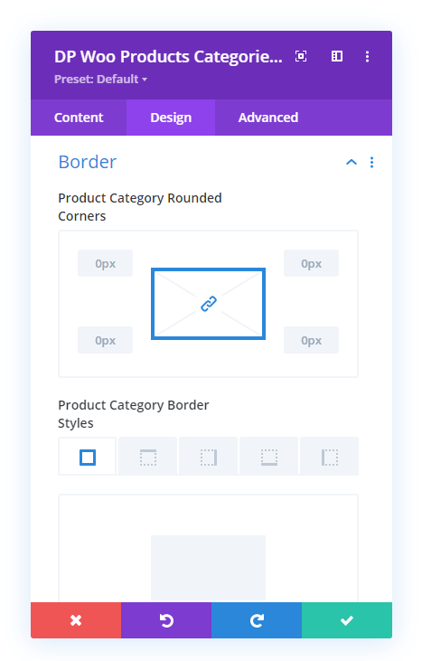 Border settings of the Woo Products Categories module