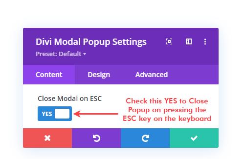 Closing modal on ESC key option