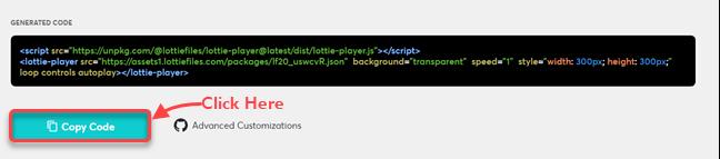 Copying Lottie animation code