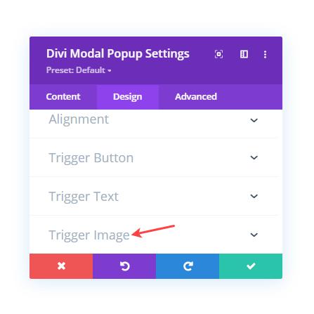 Divi Modal Popup Design tab settings on selecting image trigger