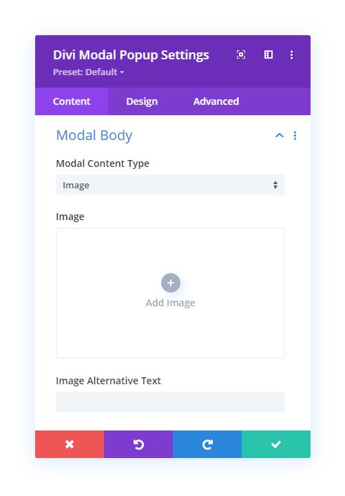 Divi Modal Popup Image Body Content option