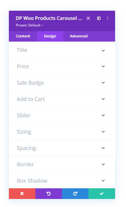 Divi Plus Woo Products Carousel Design tab