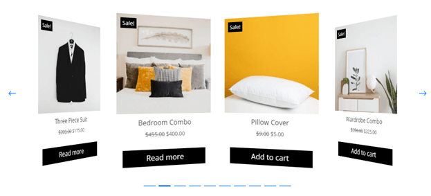 Divi Plus Woo Products Carousel with line dot pagination