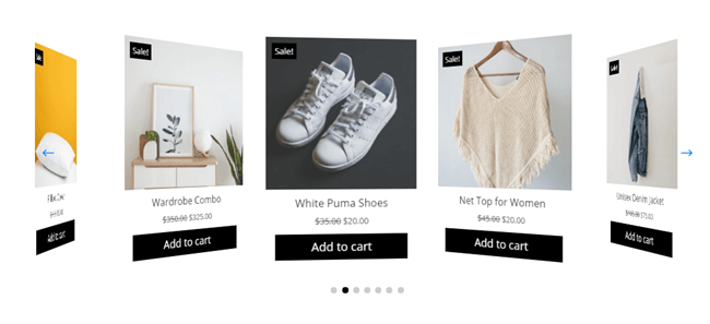 Divi Plus Woo Products Carousel with solid dot pagination
