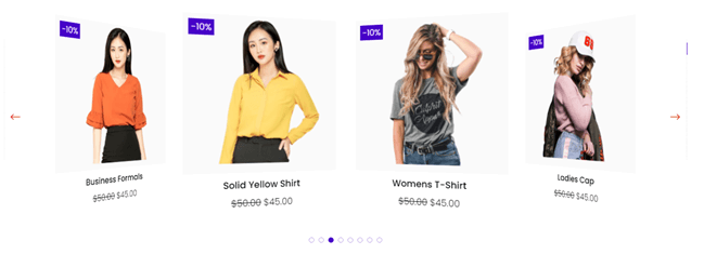 Divi Plus Woo Products Carousel with transparent dot pagination