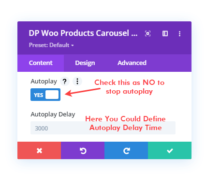 Divi Plus WooCommerce Products Carousel module and its autoplay options