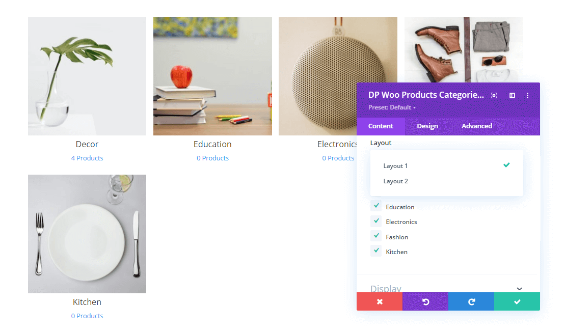 Divi Woo Shop Products Categories and their layout option