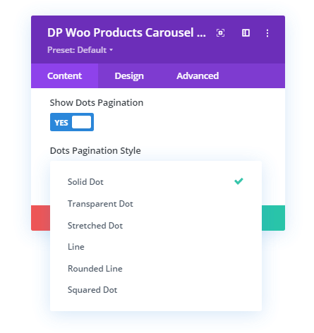 Dots Pagination option and its styles
