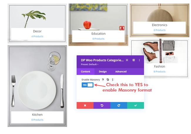 Enabling Masonry format on WooCommerce categories