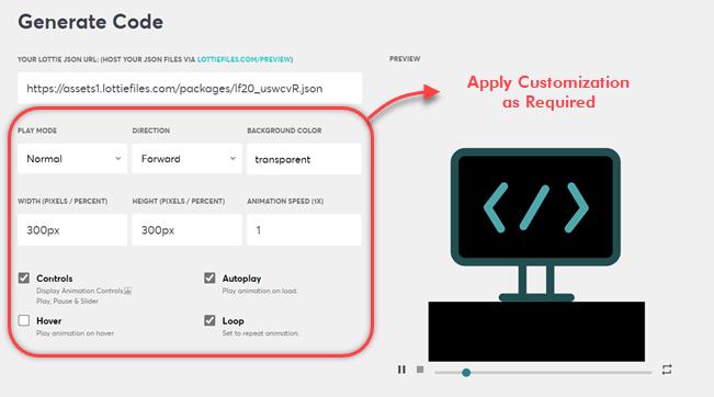 Lottie animations customization options at LottieFiles
