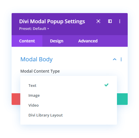 Modal Body Content Type options
