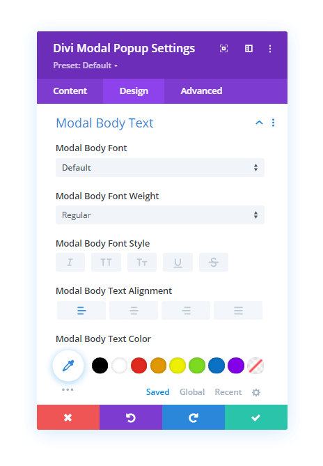Modal Body Text Customization options in the Design tab