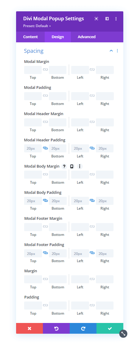 Modal Popup Spacing setting and options