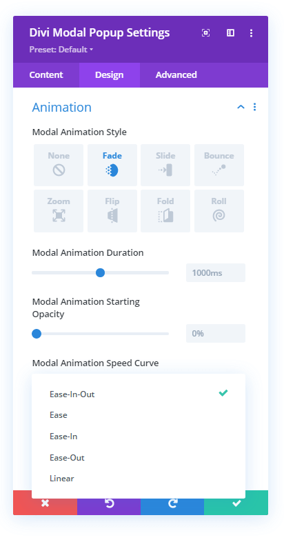 Modal Popup animation setting and its options