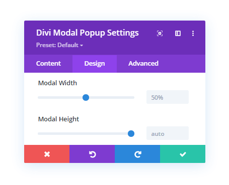 Modal Window Width and Height Setting