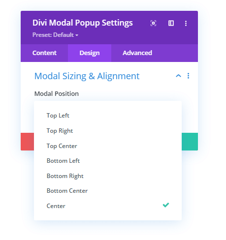 Modal position option in the Modal Sizing and Alignment setting