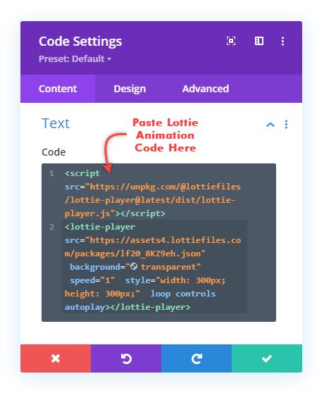 Pasting Lottie Animations code in Code module