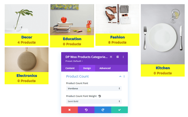 Product Count text settings in Design tab of Woo Categories module